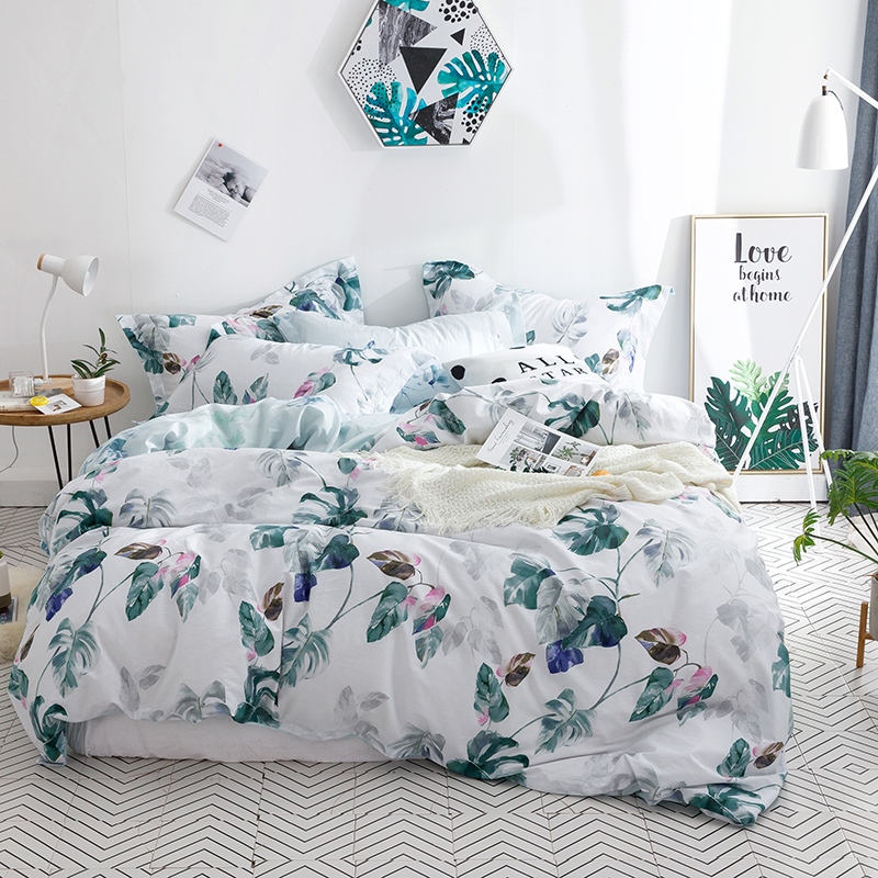 Plant / Leaf Printed Bed Linens Set Bedding Set With Pillowcases Nature Quilt / Duvet Cover Single Queen King Sizes Bed Set