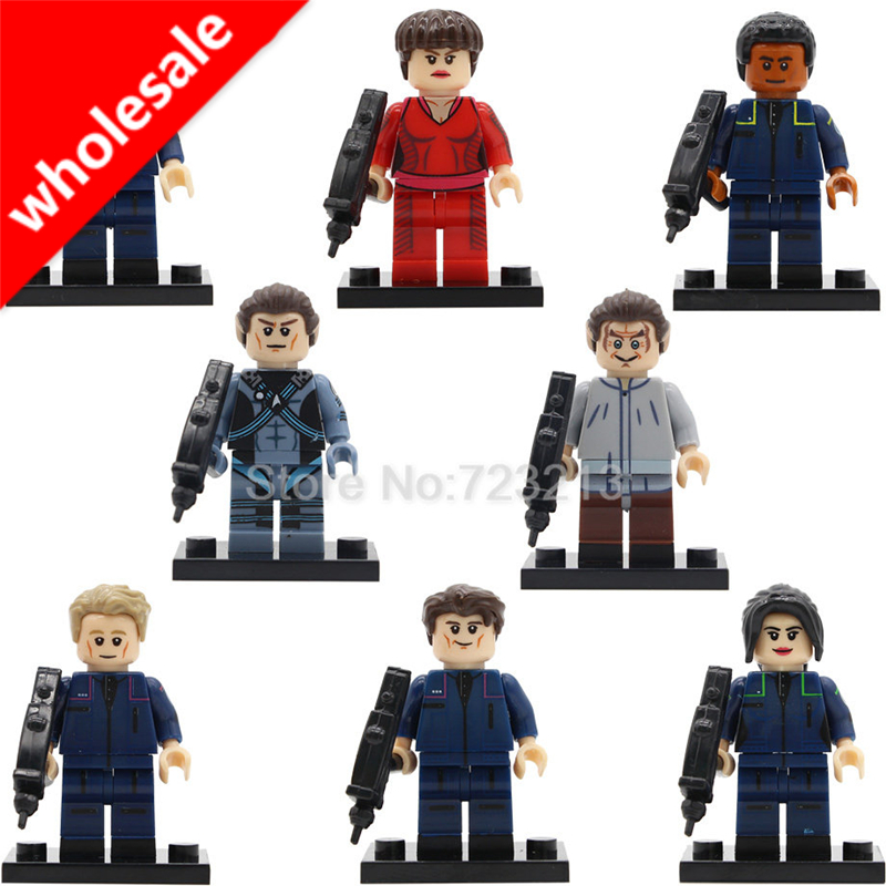Wholesale 20pcs TPol Star Trek Spock Figure Trip Travis Startrek Enterprise Malcolm Reed Jonathan Building Blocks Model Toys