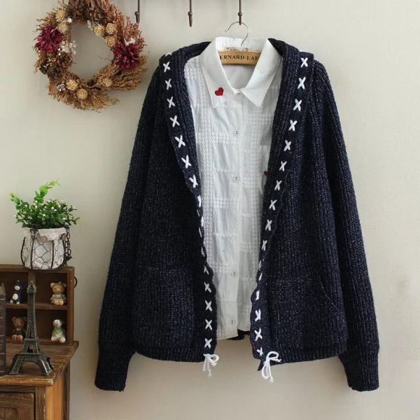 2018 Autumn New Women Students Knitting Cardigan Joker Fashion Retro Lace-Up Loose Hooded Sweater Coat