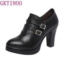 Women's Shoes Block-Heels Platform-Pumps-High-Heel Elegant Big-Size Ladies 33-43 Buckle