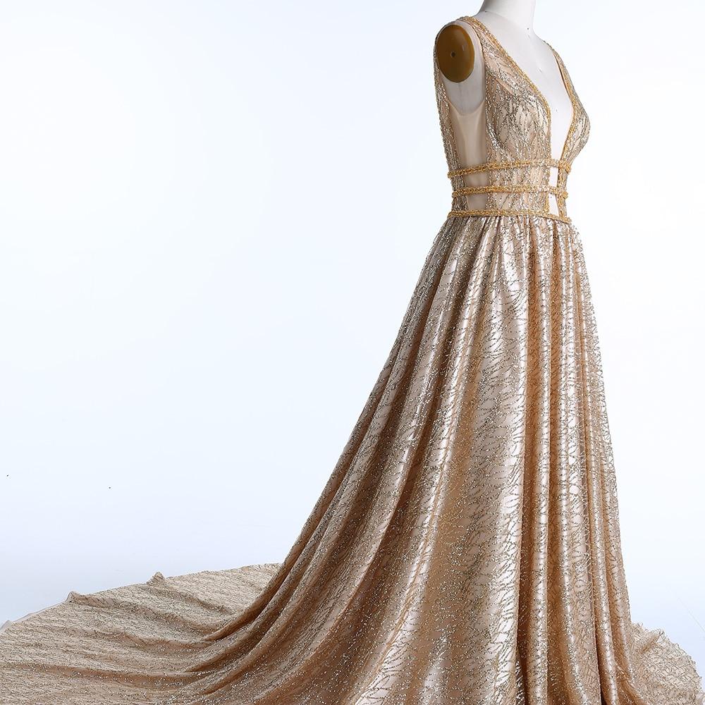 BeryLove Χρυσά Βραδινά Φορέματα Βραδινά - Ειδικές φορέματα περίπτωσης - Φωτογραφία 2