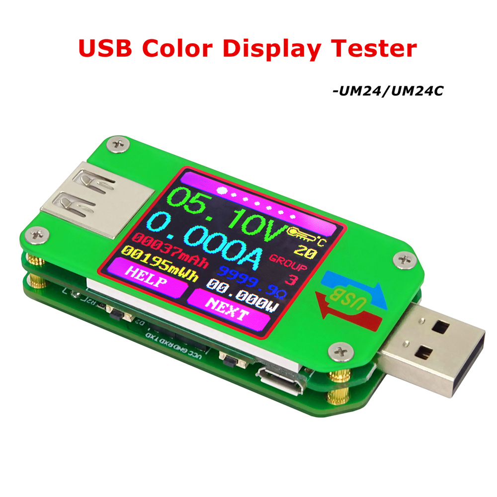 RD UM24C 2.0 USB testeur Couleur LCD Tension Actuelle Indicateur Voltmètre Ampèremètre Charge de La Batterie Câble Impédance Communication Version