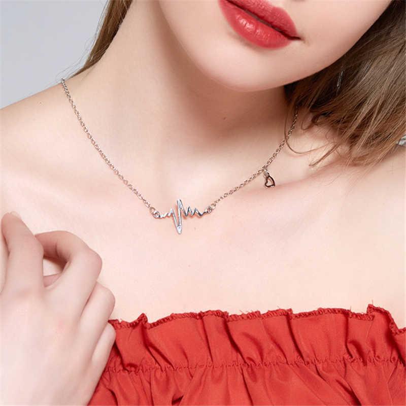 Moda elektrokardiyogram zincir kolye kadınlar Heartbeat kolye kolye takı kadınlar için Lover hediye