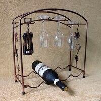 Wrought iron wine rack wine rack European fashion wine glass holder wine rack upside down hanging hanger four bottles LO712647