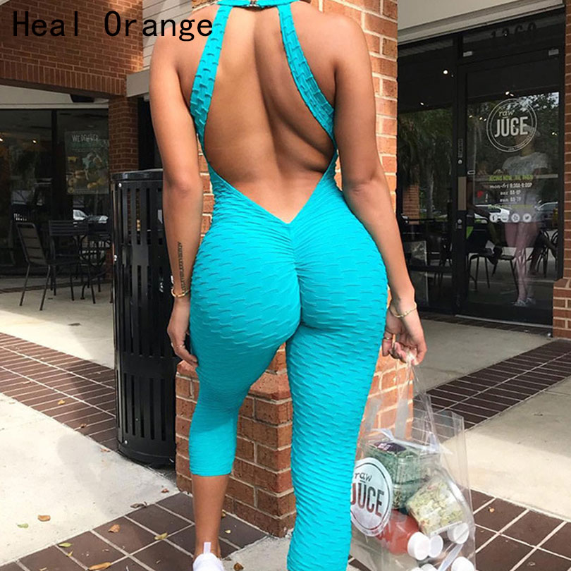 Heilen Orange Sexy Backless Frauen Yoga Overall Sport Set Yoga Set Frau Sommer Lauf Anzüge Gym Kleidung Frauen Workout Kleidung