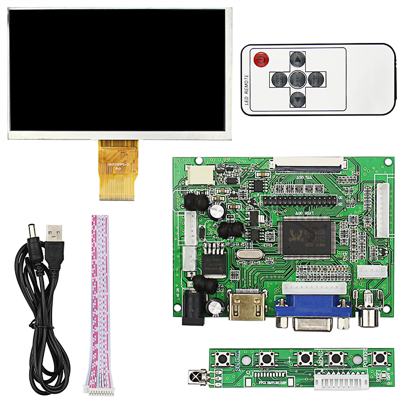 7inch 800x480 LCD Monitor Display Screen With Driver Board HDMI VGA 2AV For Raspberry Pi 3