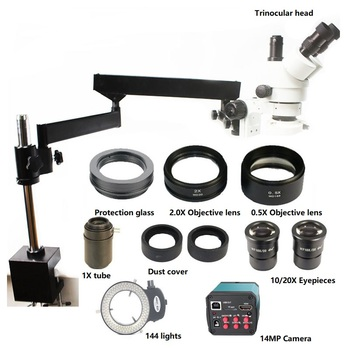 3.5X-90X brazo articulado Zoom microscopio estéreo 14MP HDMI USB TF tarjeta cámara Digital 2.0X 0.5X objetivo Len 144 luz LED