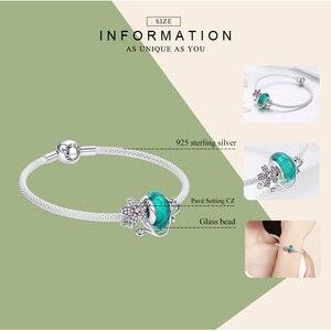 Image 3 - WOSTU bracelets en argent Sterling 925, perles Murano vertes, breloques avec fleurs roses, bijou en argent Sterling pour femmes, cadeau, FIB822