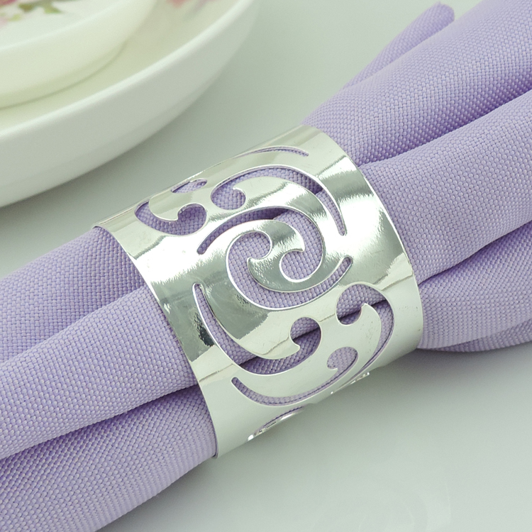 Free Shipping 12pcs Alloy Silver Napkin Ring For Wedding Round Banquet Napkin Holder