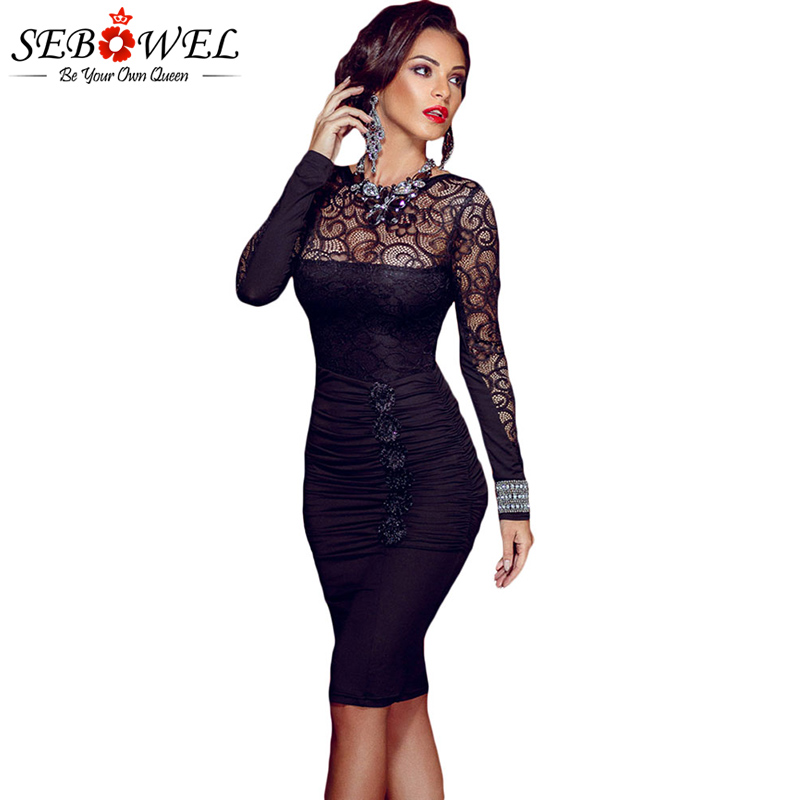 Detail Feedback Questions about SEBOWEL Sexy Black Floral Lace Party Dress  Women Elegant Lace Ruched Bodycon Midi Dress Long Sleeve Sexy Night Club  Pencil ... 5b76edece275