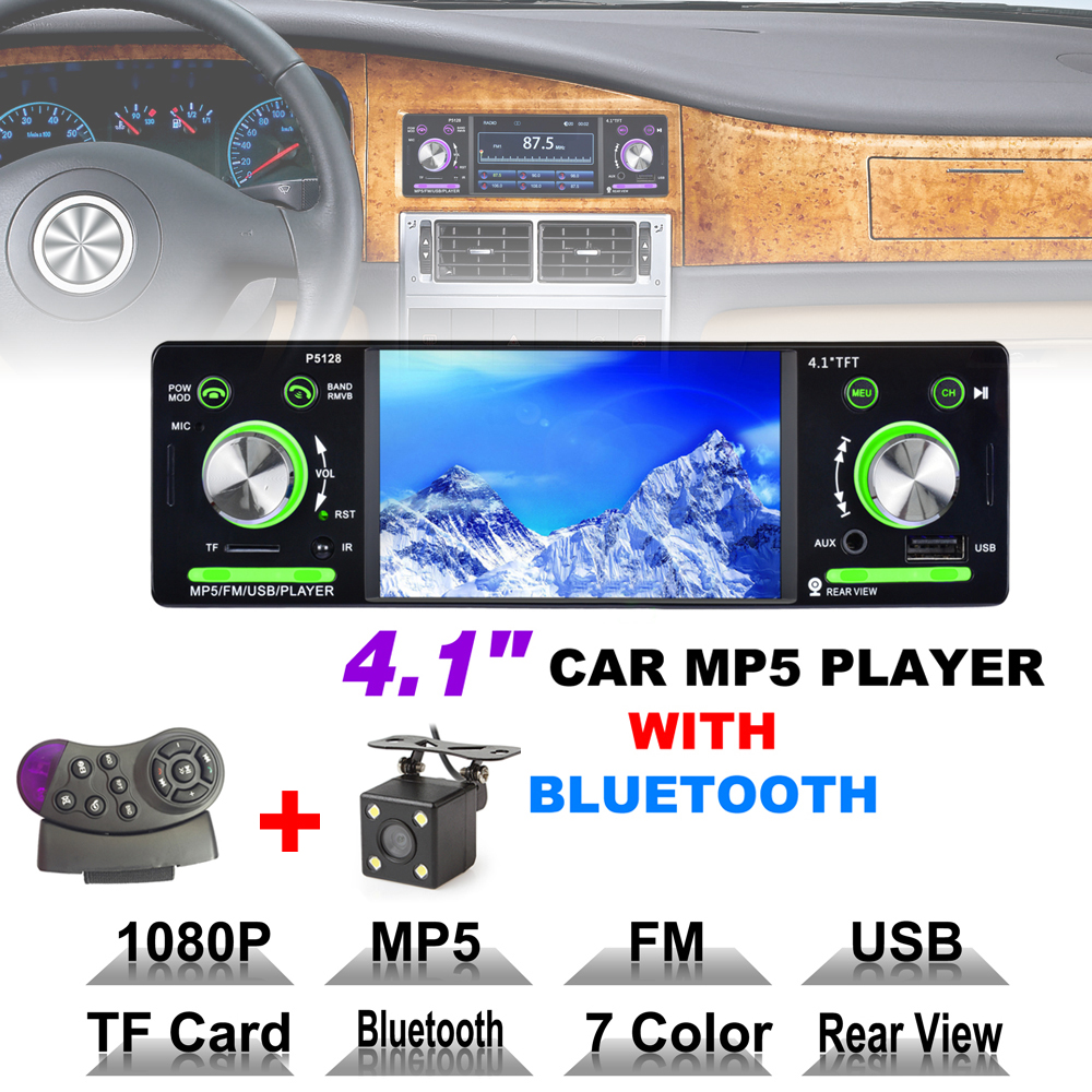 4.1 Inch 1 Din HD Bluetooth Car Stereo Radio Auto MP3 MP5 Player USB FM TF AUX + Steering Wheel Remote Control + Rearview Camera 7 touch screen 7021g car bluetooth mp3 mp4 mp5 player gps navigation support tf usb aux fm radio rearview camera steering wheel