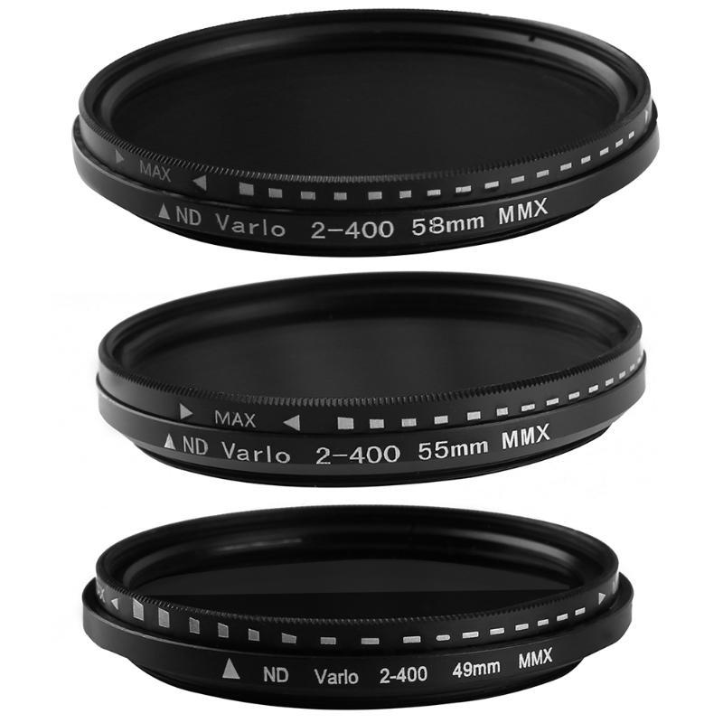 49 MM/55 MM/58 MM Fader Variable ND Filtre ND2 Réglable à ND400 Densité Neutre de L'appareil Photo Lentille pour Canon Nikon