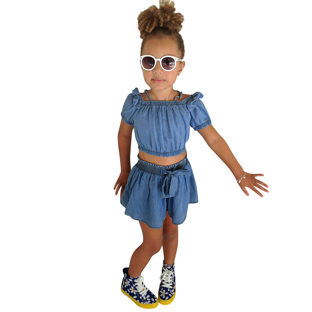 MUQGEW Baby Girl Clothes Summer Kids Baby Girls Solid Sling shoulder T Shirt Tops+Shorts Outfits Dropshipping Roupa Infantil