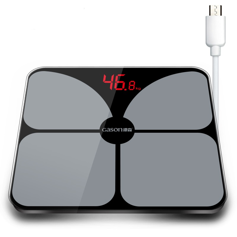 GASON A3s USB Charging Scales LED Digital Display Pattern Weight Weighing Floor Electronic Smart Balance Body Household Bathroom