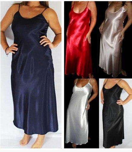 2018 summer Plus Size 3XL Women Long Nightwear Faux Silk Satin Night Dress Girls Sleepwear Nightgown Nightdress sexy lingerie