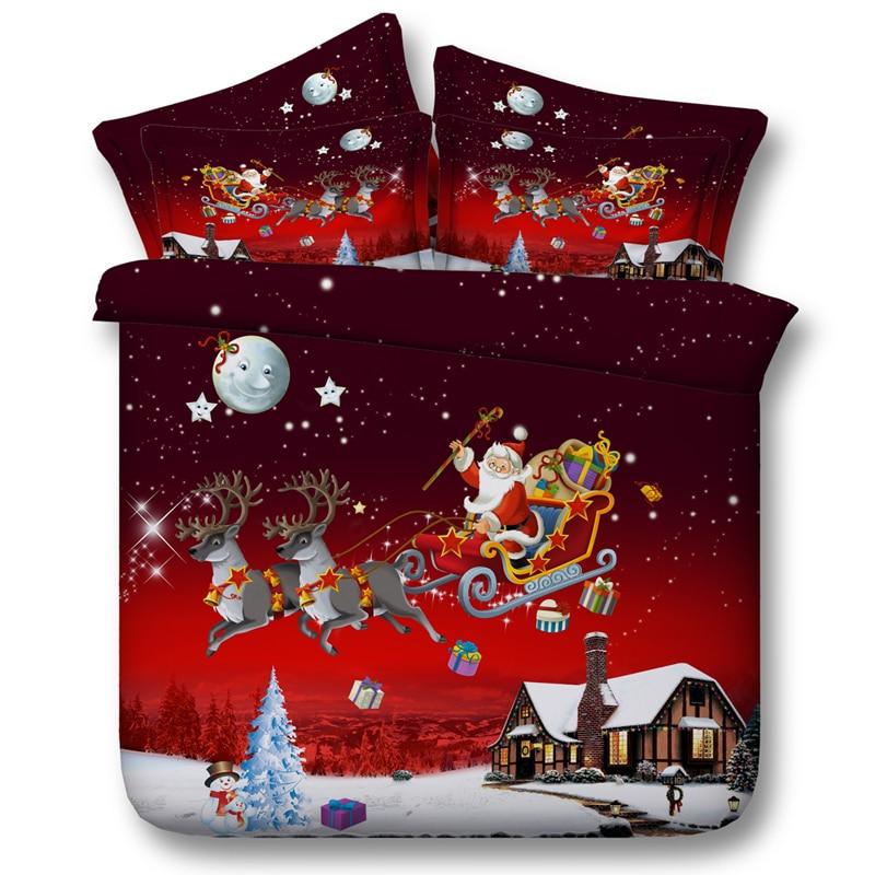 Christmas Bedding set Santa Claus Deer Star Moon duvet cover King queen size twin bed sheet sheets bedspread Gift Snowman 4PCS - 2