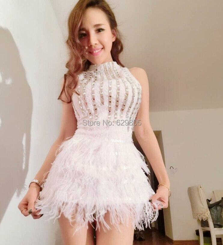 Женские пикантные белый меховой серебристыми блестками цельнокроеное платье комбинезон певица DS DJ Танцы костюмы боди Ночной клуб фотограф