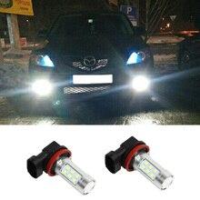 2pcs H8 H11 Fog Lights Lamp For Mazda CX-7 2010 2011 CX-5 2012 MX-5 White LED Canbus Bulbs Reflector Mirror Design 3528 21SMD