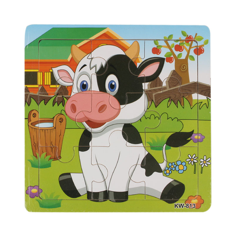 2017 Children like toys for children dolls Wooden Dairy Cow Jigsaw Toys For Kids Education And Learning Puzzles Toys