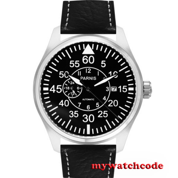 44mm Parnis black dial Sapphire Glass miyota Automatic movement mens Watch P574 цена и фото