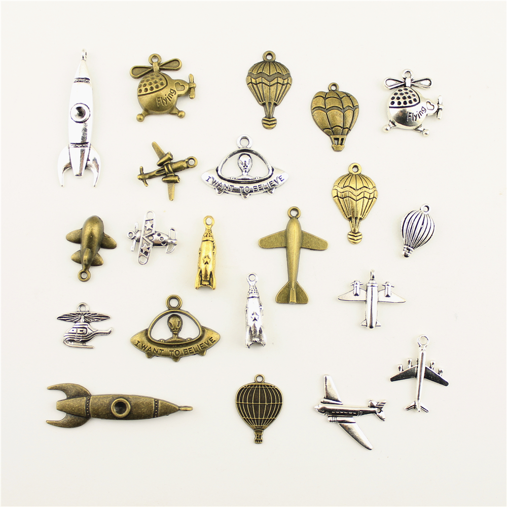 10pcs Jewelry Female Airplane Rocket Helicopter Ufo Fighter Hot Air Balloon Charm Diy Jewelry Accessories image