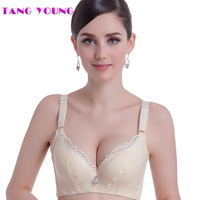 TANG YOUNG Brand Women Lace Underwire Deep V Bralette Push Up Adjustable Sheer Bra Lingerie For