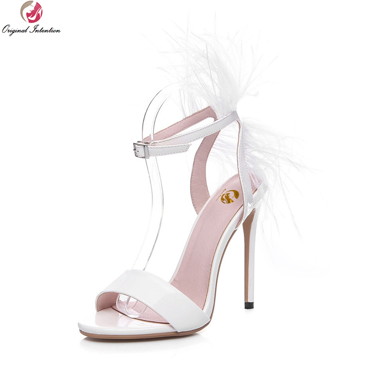 Original Intention Elegant Women Wedding Sandals Beautiful Open Toe Thin Heels Sandals White Shoes Woman Plus Size 3.5-10.5 1 design laser cut white elegant pattern west cowboy style vintage wedding invitations card kit blank paper printing invitation