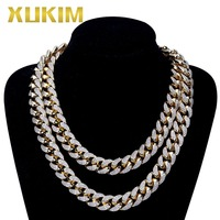 Xukim Jewelry Punk 13mm AAA CZ Iced Out Gold Color Miain Curb Cuban Necklace Chain Hip Hop Jewelry Mens Necklace