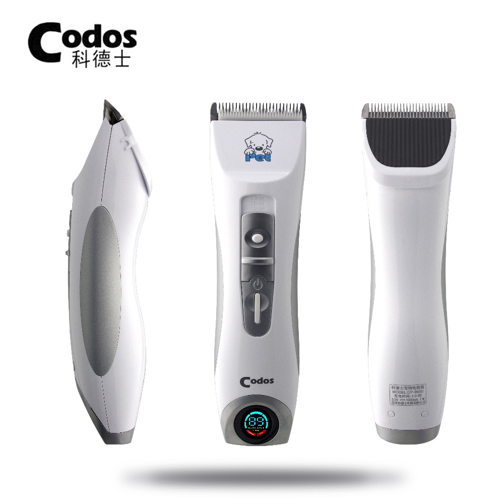 Professional Codos CP9600 Pet Electric Shaver LCD Display Dog Trimmer Grooming Haircut Machine Silver Rechargeable Dog