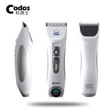 Máquina de afeitar eléctrica profesional para mascotas Codos CP9600, con pantalla LCD, recortador de perros, máquina de corte de pelo, cortapelos recargable de plata