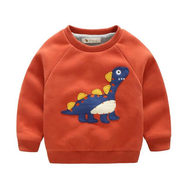 2-7Y Crianças Camisetas meninos de Inverno Vermelho Do Natal de Algodão Bonito Pullover Menino Camisolas Grossas Camisola dinossauro Dos Desenhos Animados do Miúdo Do Bebê