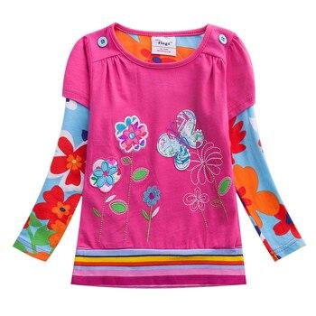 Girls T Shirt Kids T Shirt Baby Tees Cotton Flower Tops Clothes Striped Cats Winter Children Girls Tees Long Sleeve G610 conjuntos casuales para niñas