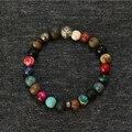 Однозначно мужские натуральный камень браслеты смешанные бусины растянуть браслет мужчины серебряный браслет мала Masculino Bijuteria