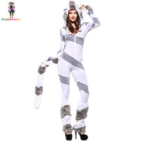 Resist Cold Polar Bear Halloween Adult Women Rompers Striped Print With Tail Hat Leg Warmers Masquerade
