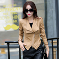 spring and autumn women motorcycle jacket young girl fashion large lapel stitching khaki leather jacket plus size m-3xl 932