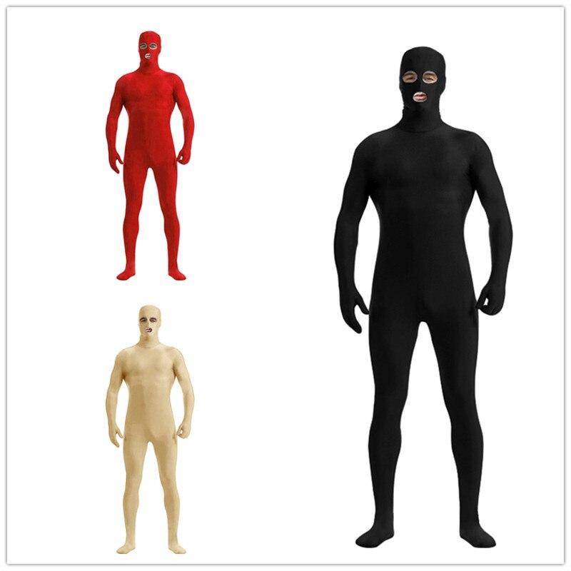Men Boy Spandex Nylon Lycra Black Full Body Second Skin Tight Suit Open Eyes Mouth Cosplay Costume Zentai S 3XL
