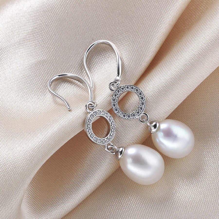 High Quality Women Natural Pearl Drop Earrings Silver 925 Fashion AAA Zircon Cultured Freshwater Pearl Wedding Jewelry With Box
