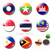 Southeast Asia Flag Luminous Fridge Magnets 30 MM Glass Refrigerator Magnets Brunei Malaysia Philippines Singapore Thailand singapore