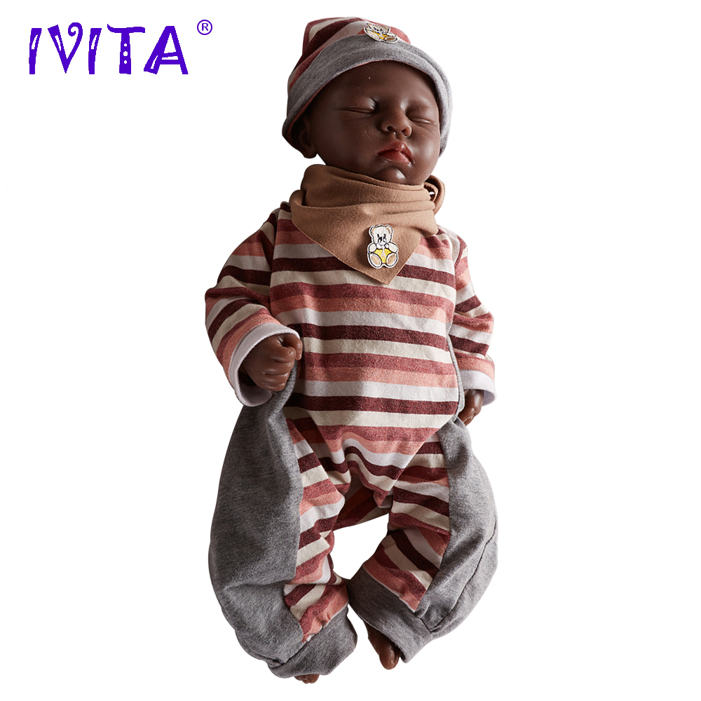 IVITA WG1507B 46cm 3.2kg Black Skin Silicone Reborn Dolls Born Full Baby Alive with Clothes Baby Girl with Eyes Closed Toy