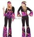 Free shipping zy535 New 2014 Ladies 80s Retro Hippie Go Go Girl Disco Costume Fancy Dress Hen Xmas Party