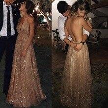 Robe longue Rose or, à paillettes, ligne a, bretelles Spaghetti, col en v, dos nu, Sexy, robes de bal, Champagne, modèle 2020