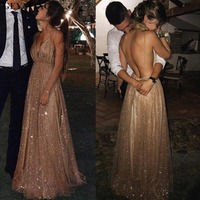 Sexy Spaghetti Straps V Neck Backless Prom Dresses 2019 Rose Gold Sequin Long Evening Dress A line Champagne Formal Party Gowns