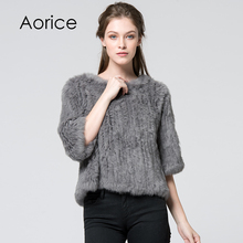 New hot sale women real rabbit fur knitted coat wraps smock overall 11colors black beige