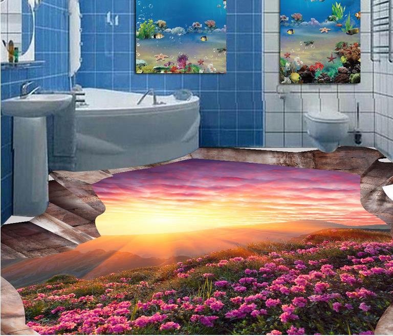 ФОТО 3d flooring pvc custom 3d room wallpaper Flowers Landscape 3d wallpaper floor waterproof wallpaper for bathroom