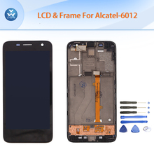 Original LCD for Alcatel OT6012 6012A 6012X LCD display touch screen digitizer frame full assembly black 6012 4.3″ pantalla