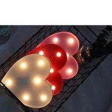 3d Love Heart Marquee list lampy kryty dekoracyjne noce lampy Led lampka nocna Wedding Decor romantyczny prezent na walentynki