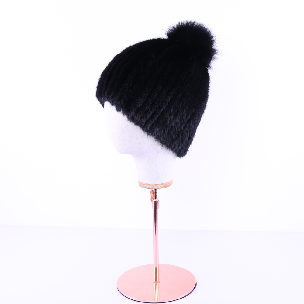 Real mink fur hats for winter women fur cap with fox fur pom pom top 2017 new sale high quality luxury female knitted beanies phyanic 2017 gladiator sandals gold silver shoes woman summer platform wedges glitters creepers casual women shoes phy3323