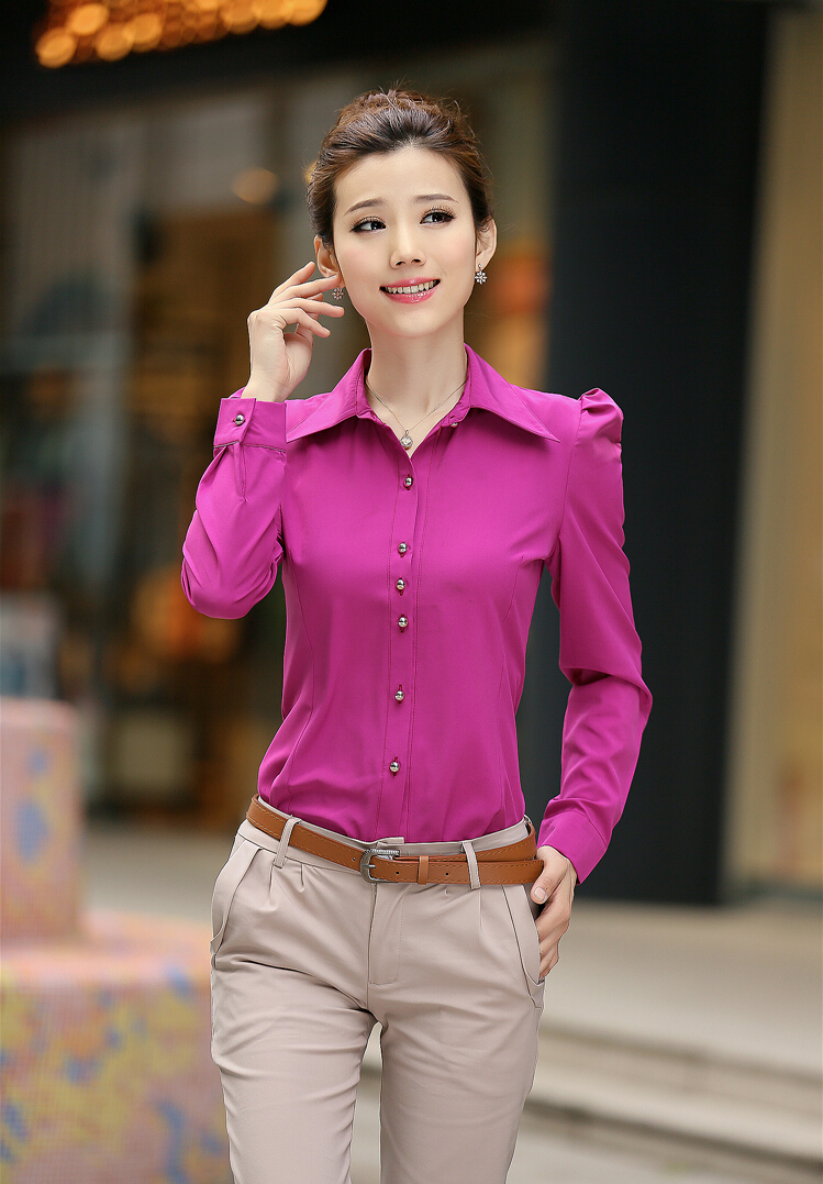 Women Blouses 2016 Summer White/Red/Yellow Blouses Office Shirt ...