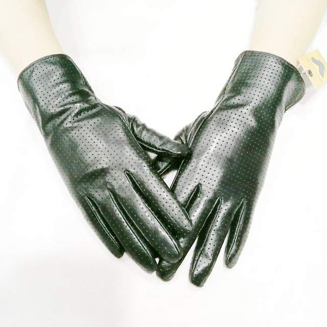 Goatskin gloves women's spring thin rayon lining leather perforated style repair hand breathable summer sheepskin driving gloves 1