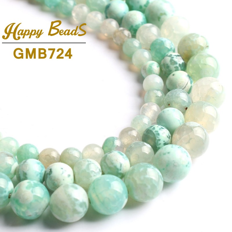 Hospitable Natural Stone Beads Mint Green Fire Agates Onyx Round Loose Beads For Jewelry Making 15strand 6/8/10mm Diy Bracelets Necklaces Beads & Jewelry Making
